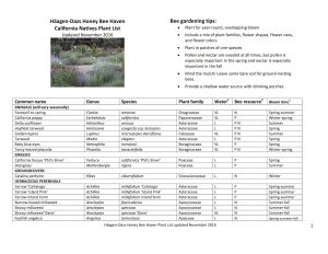 List of California native plants in the Honey Bee Haven as of November 2016